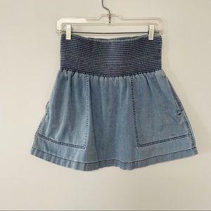 Aritzia Wilfred Free denim skirt smocked waist